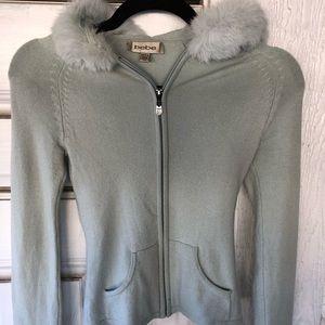 Bebe Aqua Green Silk Rabbit Fur Hoodie